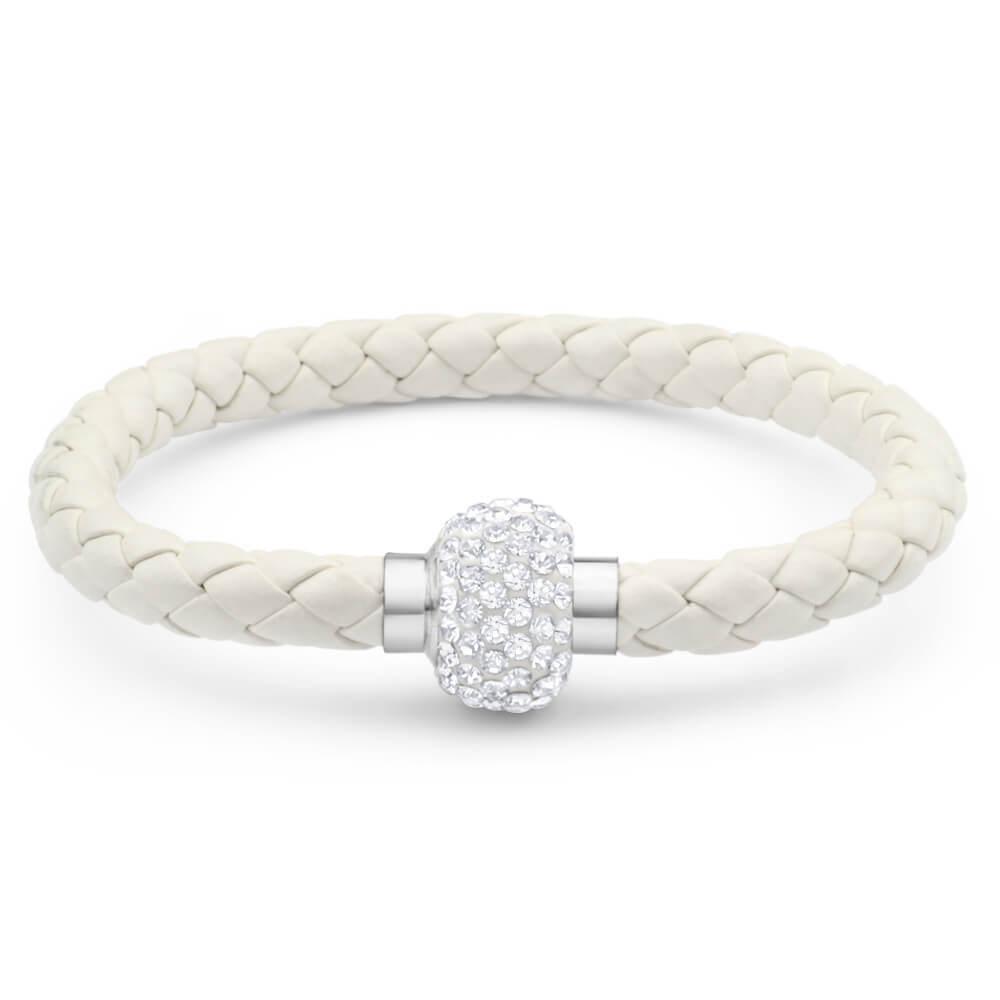 Stainless Steel Crystal Magnetic White Fancy Bracelet