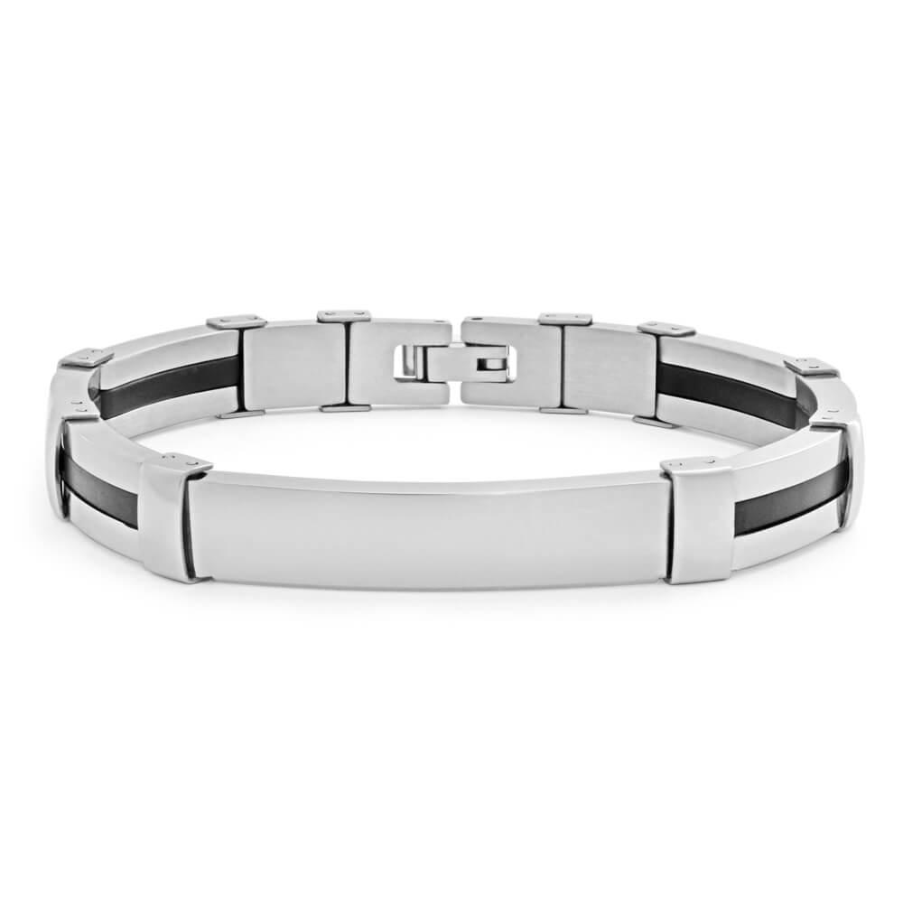 Forte Stainless Steel Black Rubber Stripe 20cm Fancy Gents Bracelet
