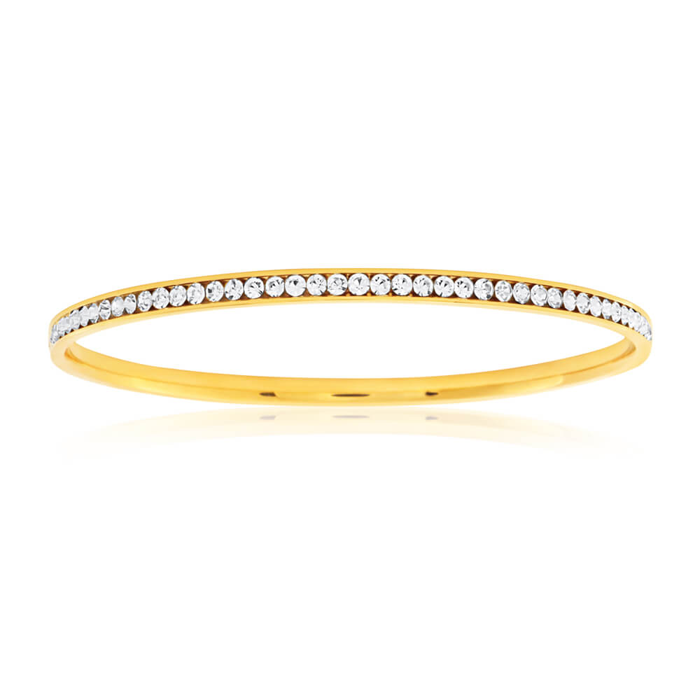 Stainless Steel Gold Plated Crystal Bangle 65mm