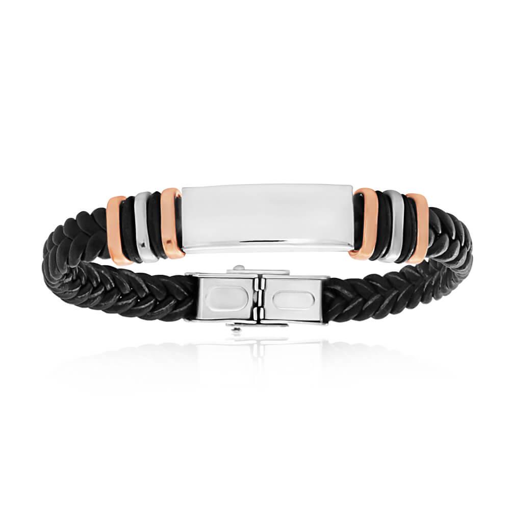 Forte Stainless Steel Leather 19.5cm Fancy Bracelet