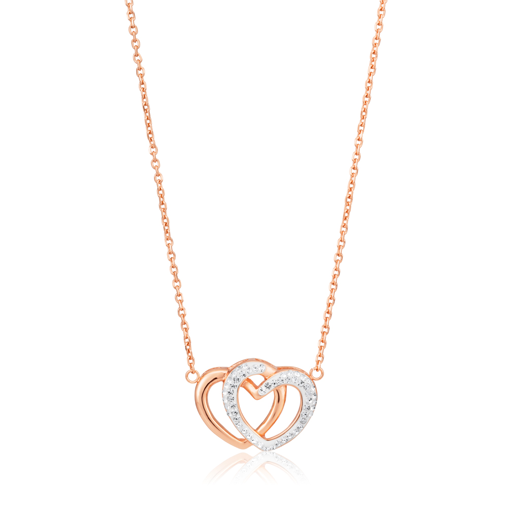 Rose Gold Plated Stainless Steel Crystal Double Heart Pendant with 43cm + 6.5cm Chain