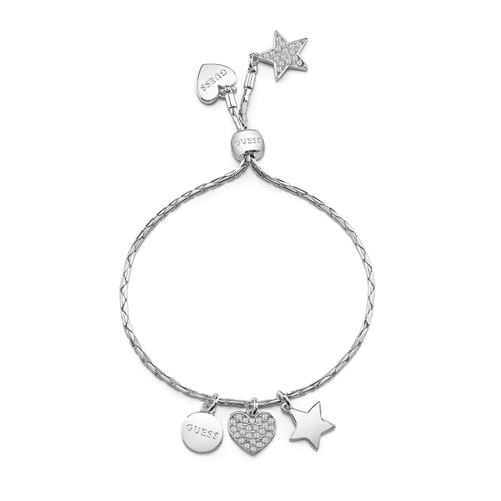 Guess Silver Plated Adjustable Bracelet