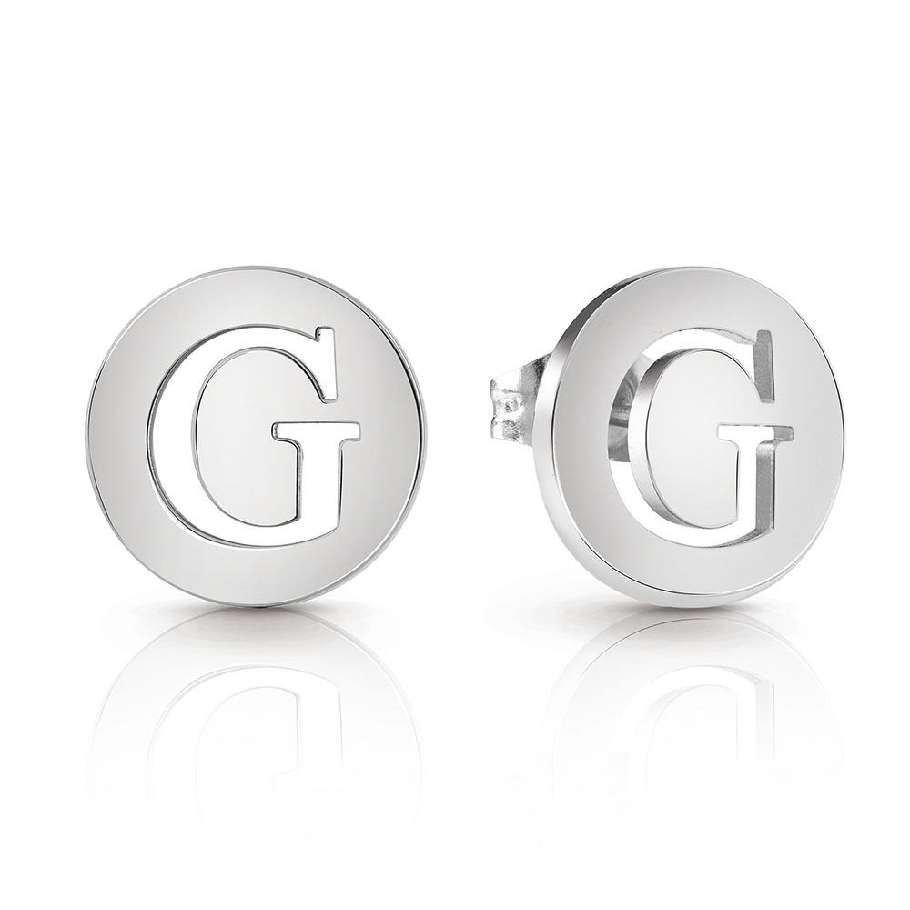 GUESS Silver Plated Round Logo Stud Earrings