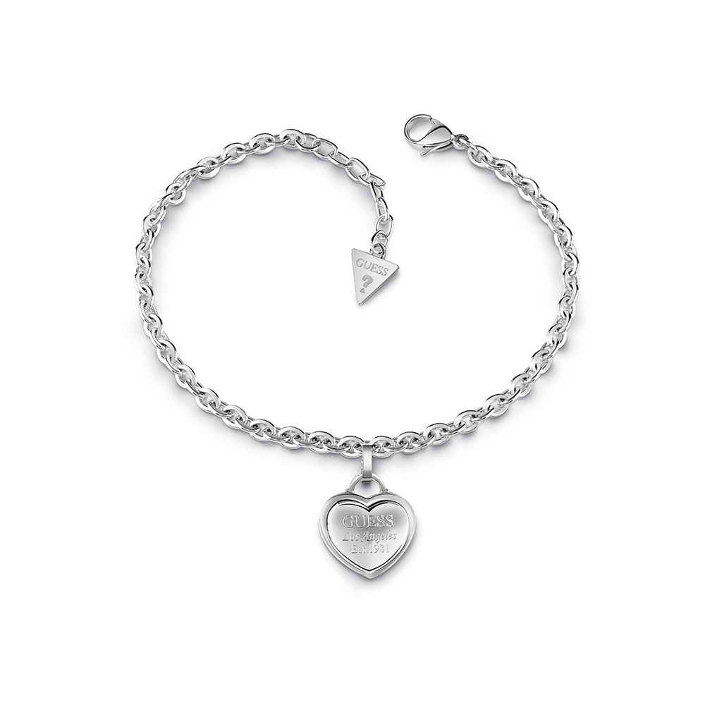 GUESS Silver Plated Engraved Drop Heart Bracelet