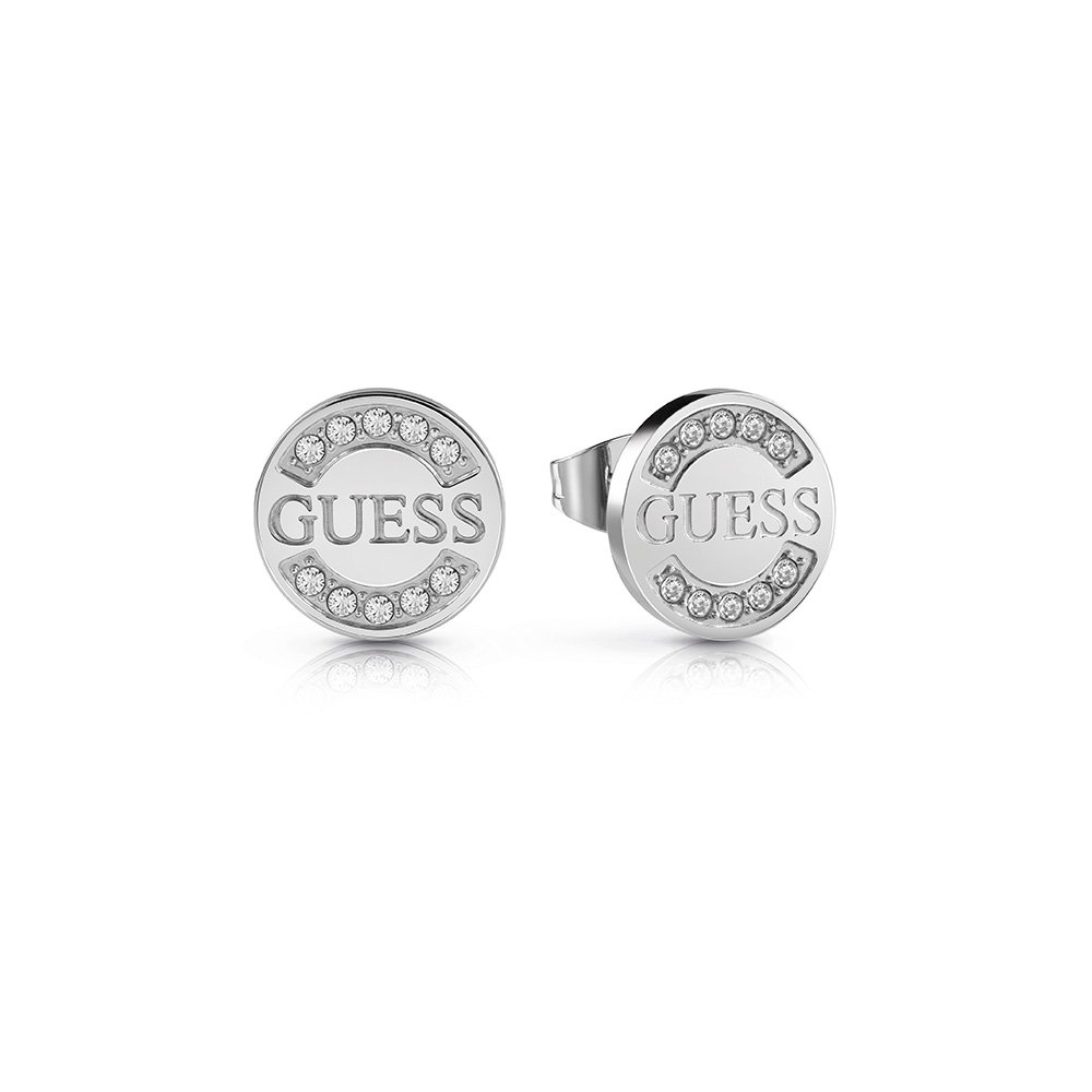 GUESS Silver Plated Logo Coin Studs
