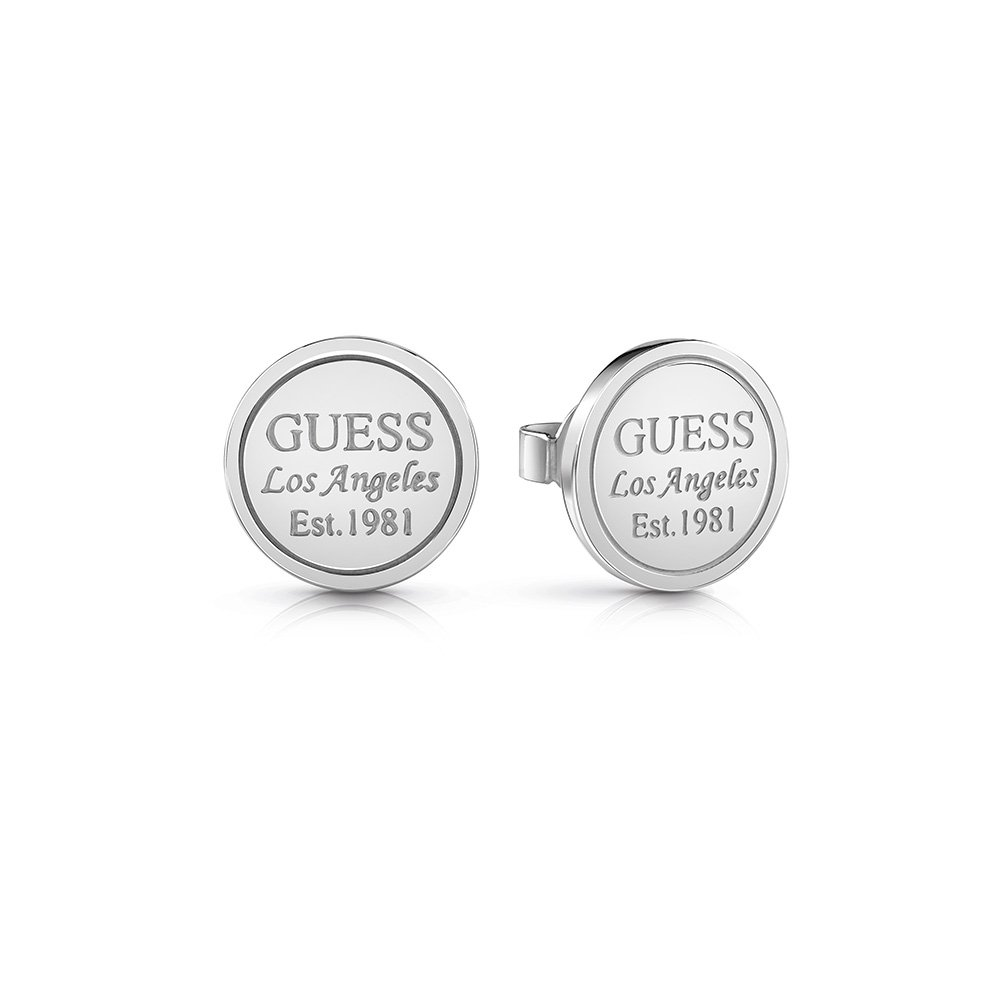 GUESS Silver Plated LA Coin Studs