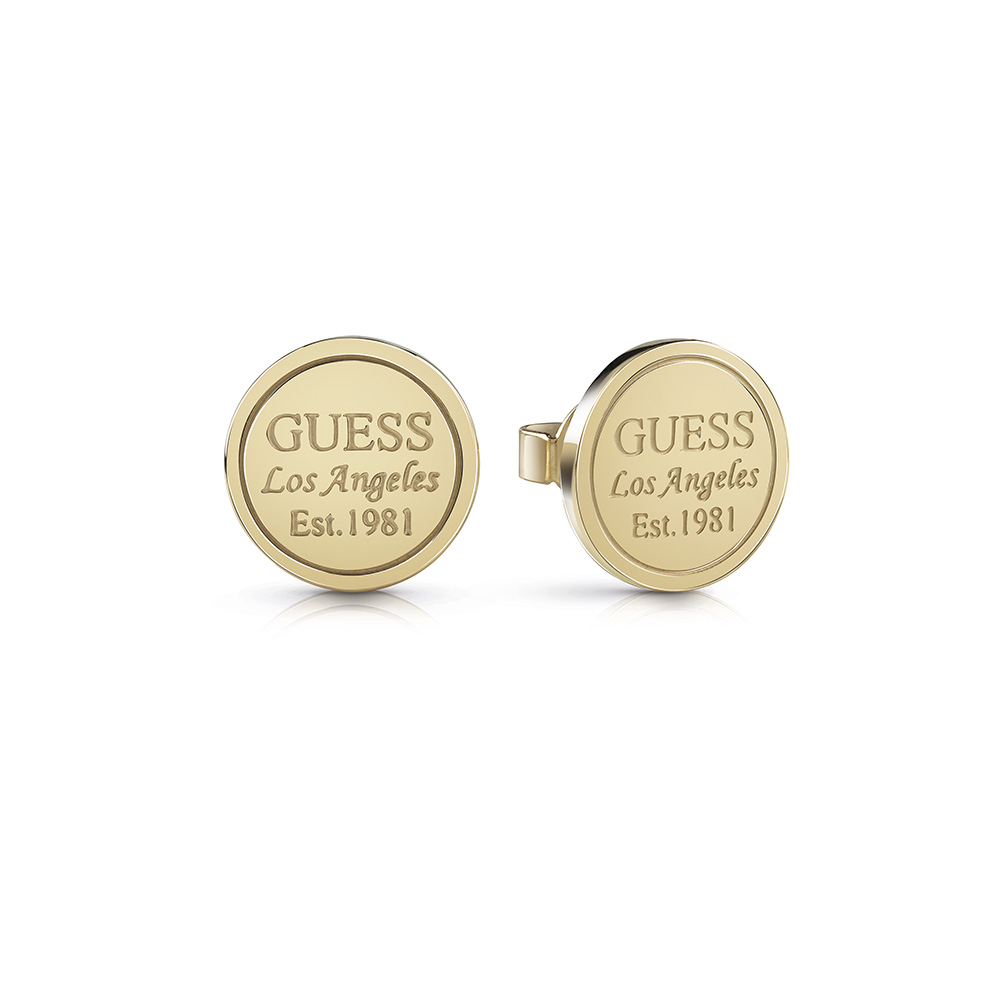 GUESS Gold Plated LA Coin Studs