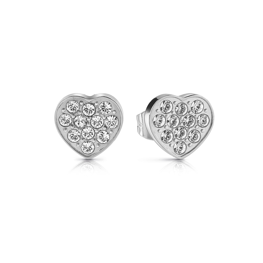GUESS Silver Plated Small Pave Heart Studs