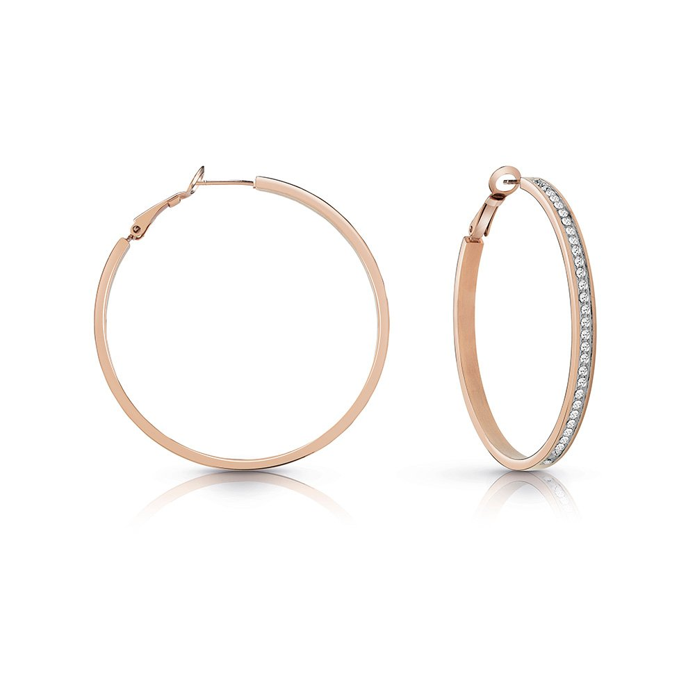 GUESS Rose Plated 50mm Front Crystal Pave Hoops