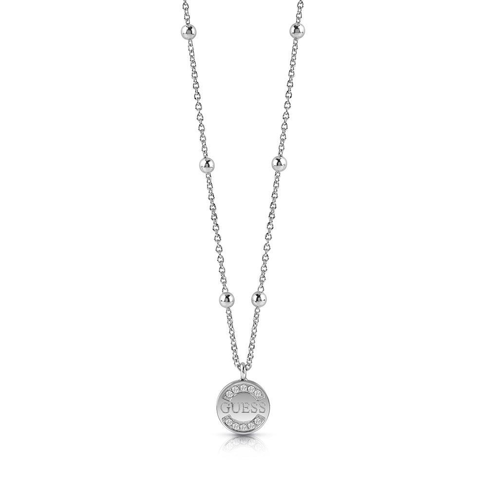 GUESS 45cm Silver Plated Coin and Beads Logo Chain