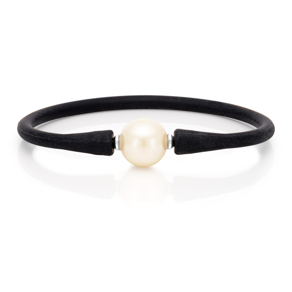 Simulated Pearl 12mm Bracelet Black