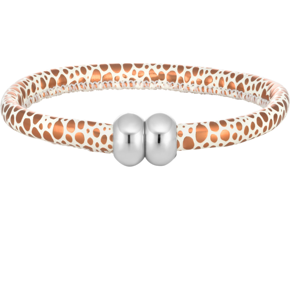 Stainless Steel and Leather Bronze and White Animal Print Magnetic Bracelet