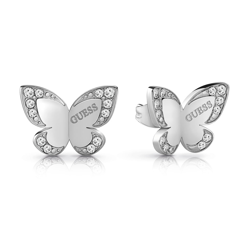 GUESS Silver Plated Butterfly Stud Earrings