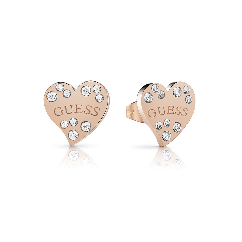 GUESS Rose Plated Stone Set Heart Stud Earrings