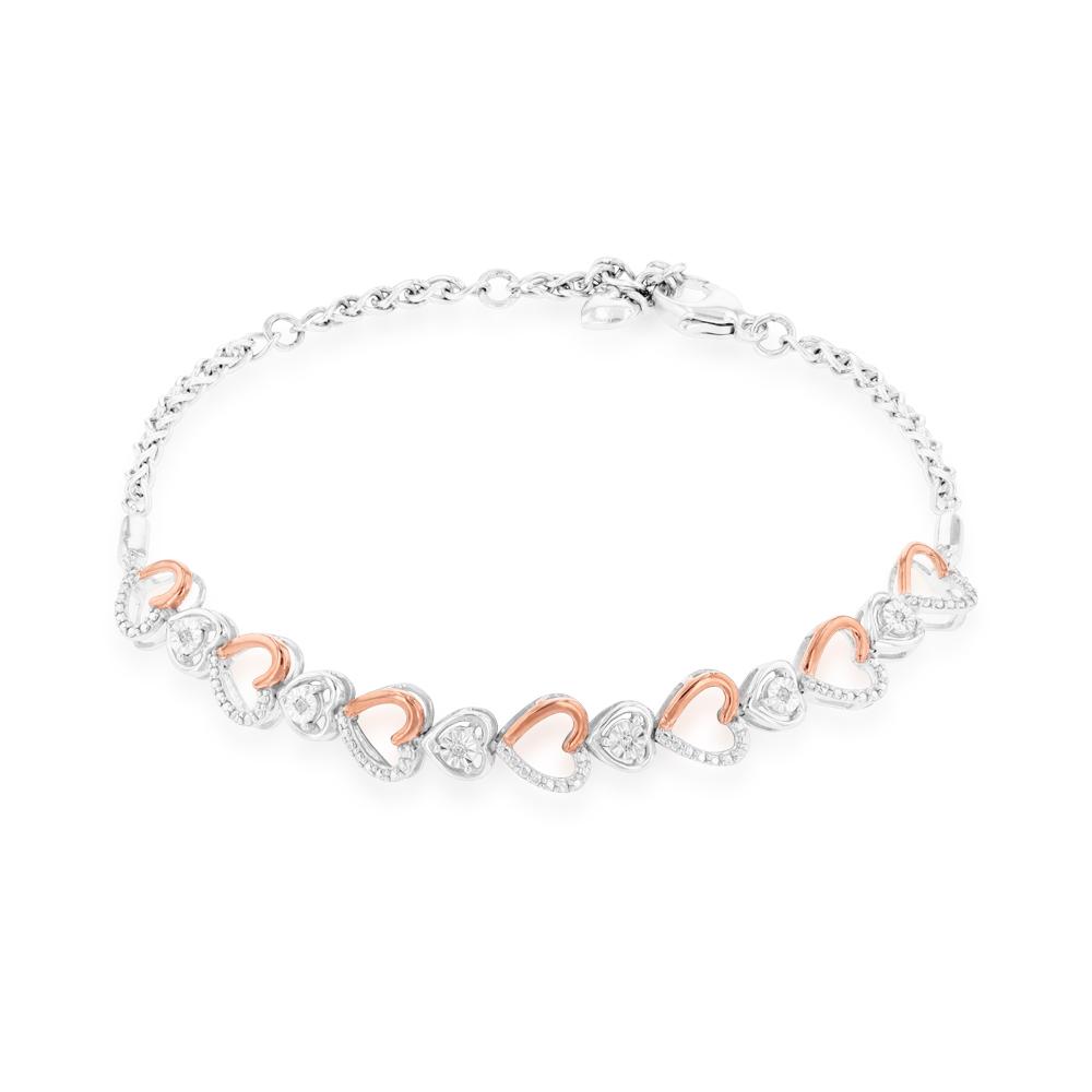 Diamond 0.02 Carats Stainless Steel 17cm Fancy Bracelet