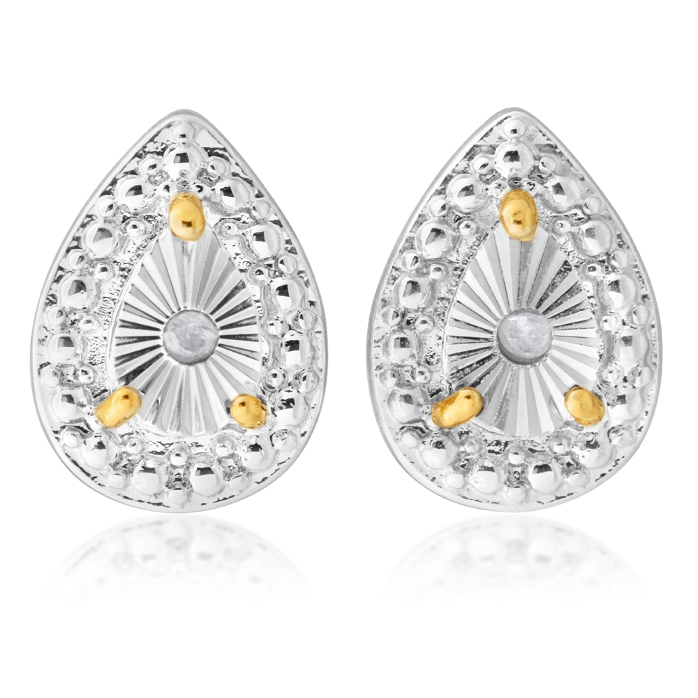 Diamond 0.02 Carats Stainless Steel Yellow Gold Plated Teardrop Stud Earrings