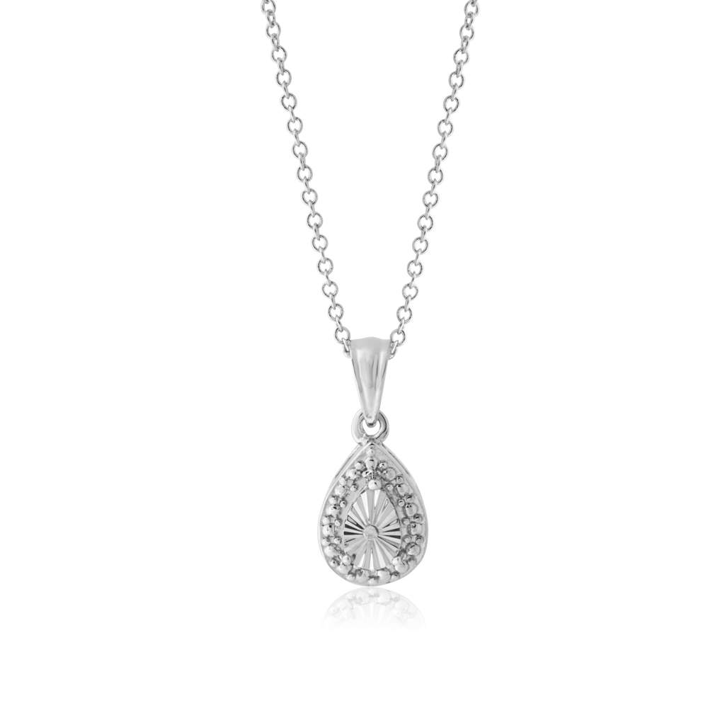 Diamond 0.02 Carats Stainless Steel Teardrop Pendant on 45cm Stainless Steel Chain