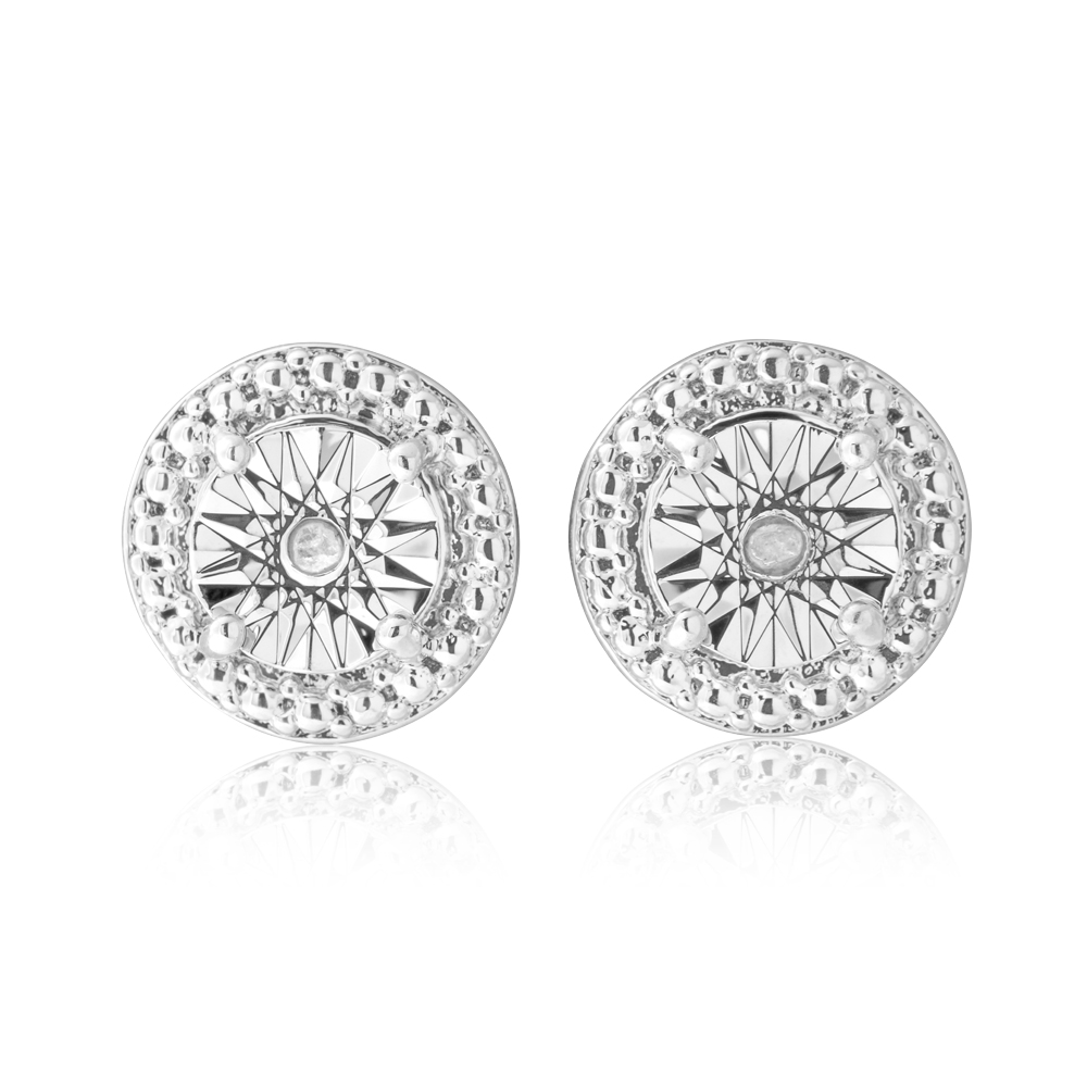 Diamond 0.02 Carats Stainless Steel Stud Earrings