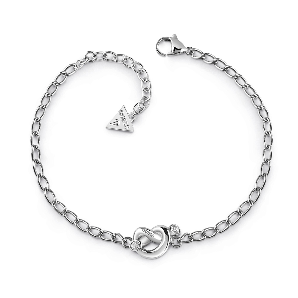 GUESS Silver Plated Mini Chain and Knot Bracelet