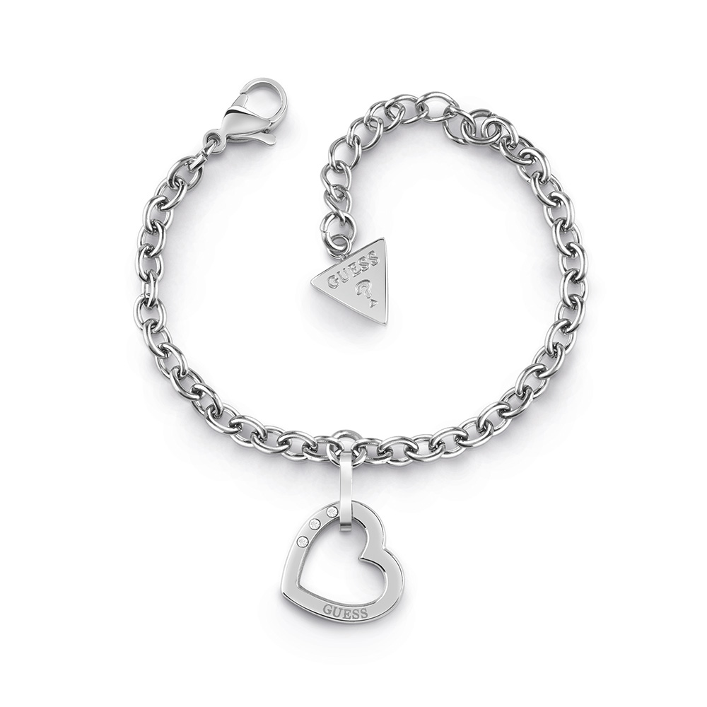 GUESS Silver Plated Chain and Single Heart Bracelet