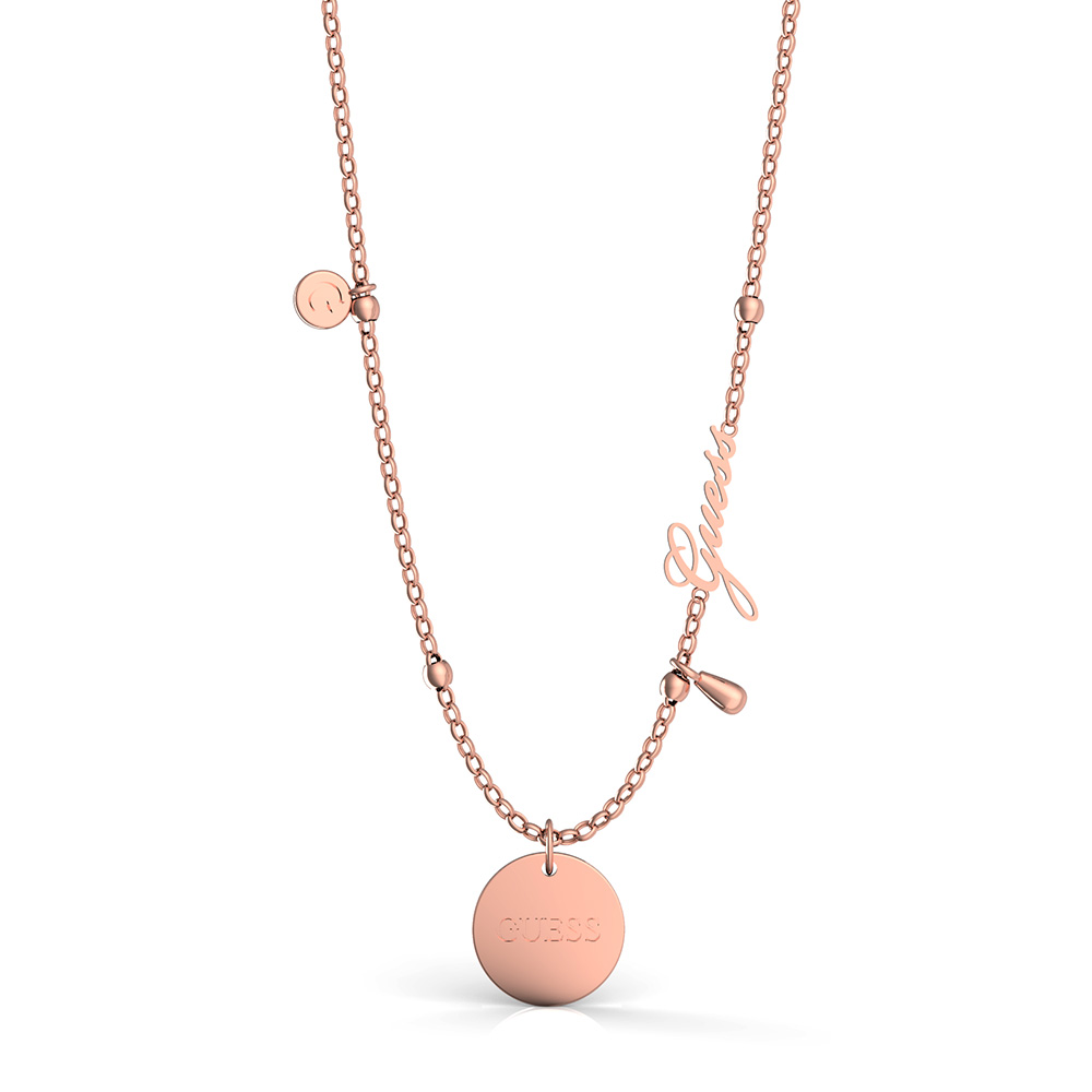 GUESS Rose Plated Greek Peony and Charm Necklace
