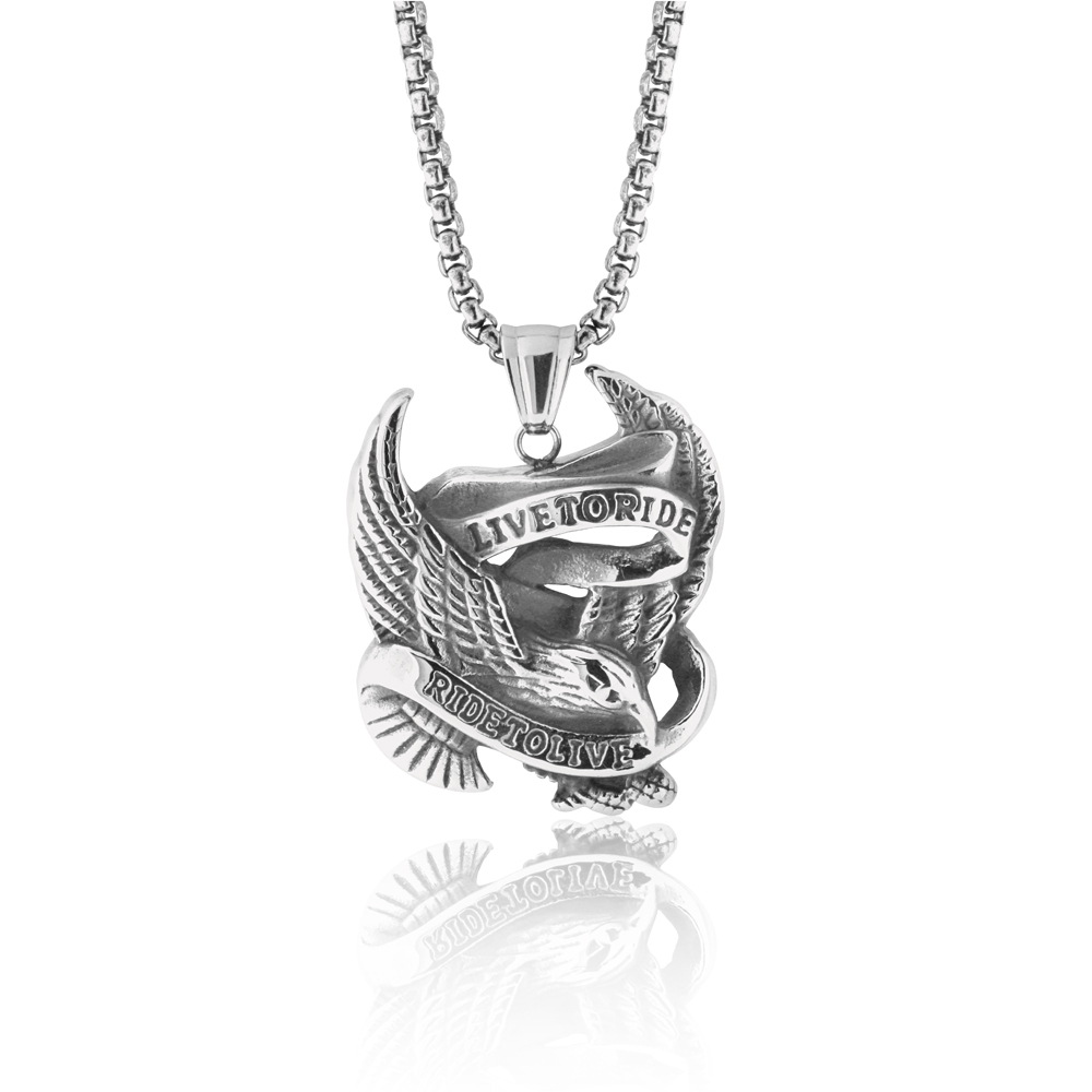 Stainless Steel 'Live to Ride-Ride to Live' Eagle Pendant with Chain