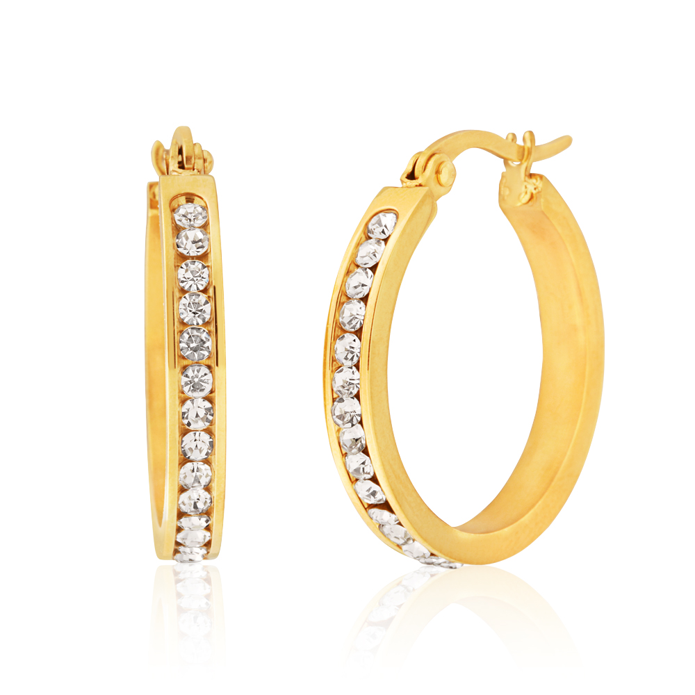 Stainless Steel Gold Plated 25mm Full Circle Crystal Hoop Earrings