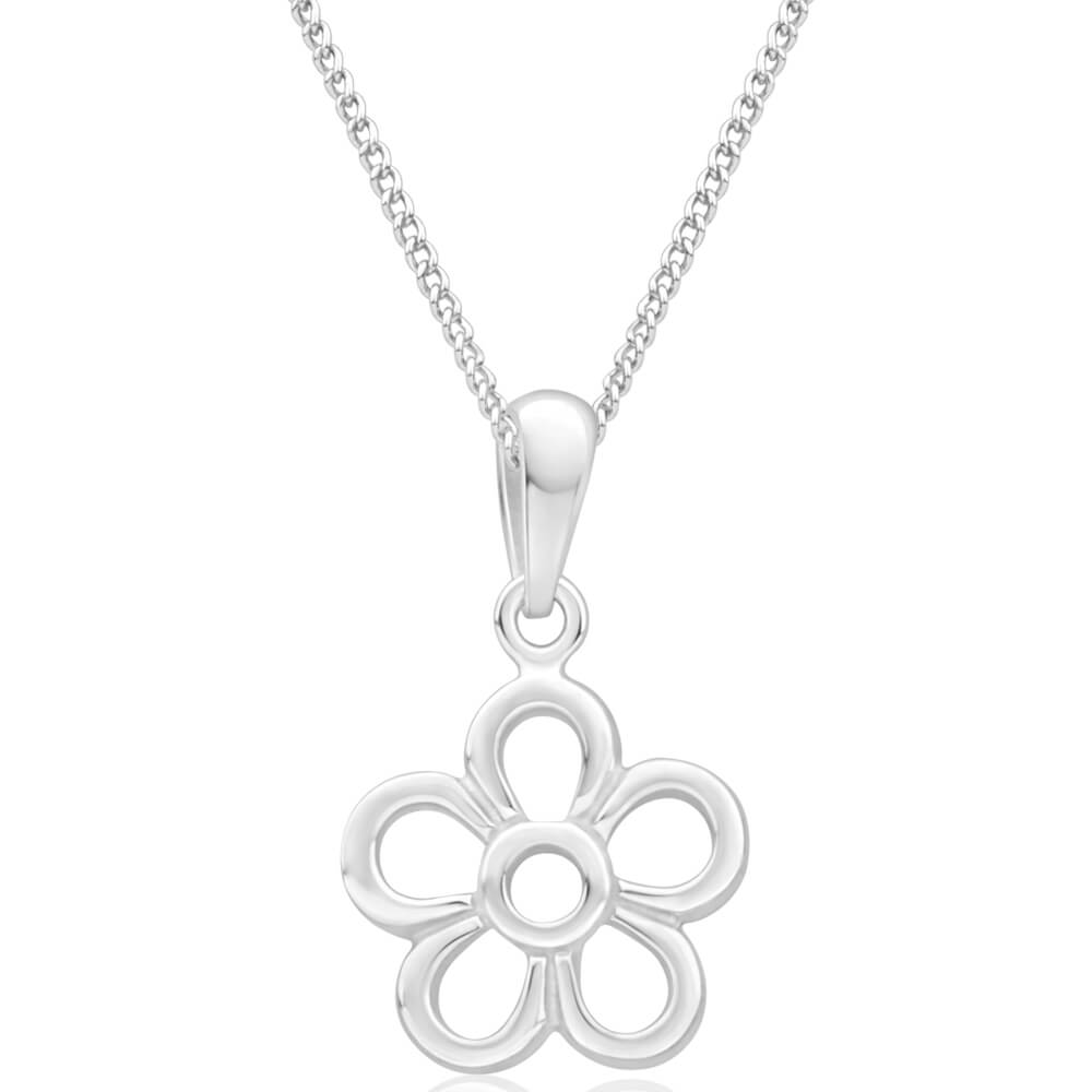 Silver Plated Open Flower Pendant