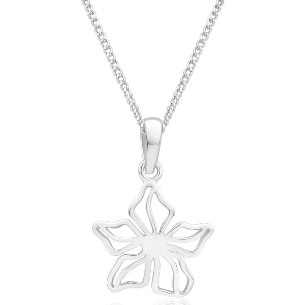 Silver Plated Flower Cutout Pendant