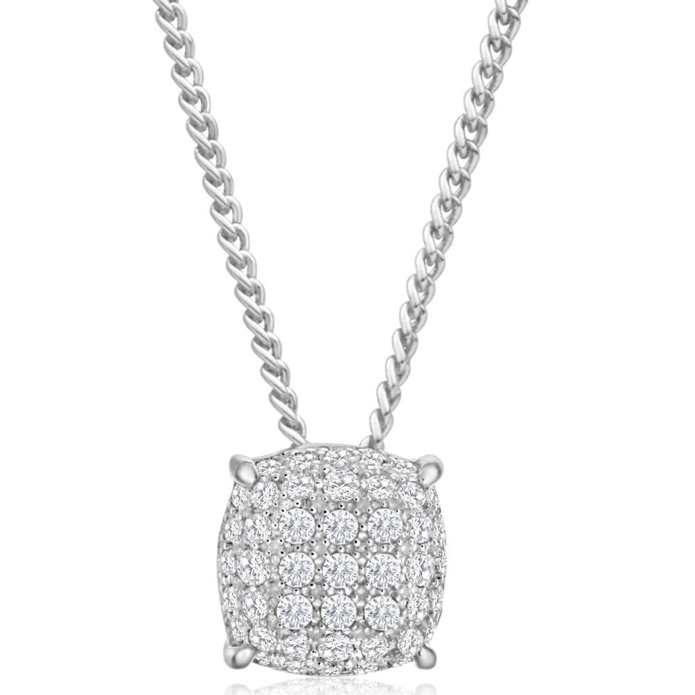 Sterling Silver Zirconia Pave Square Pendant
