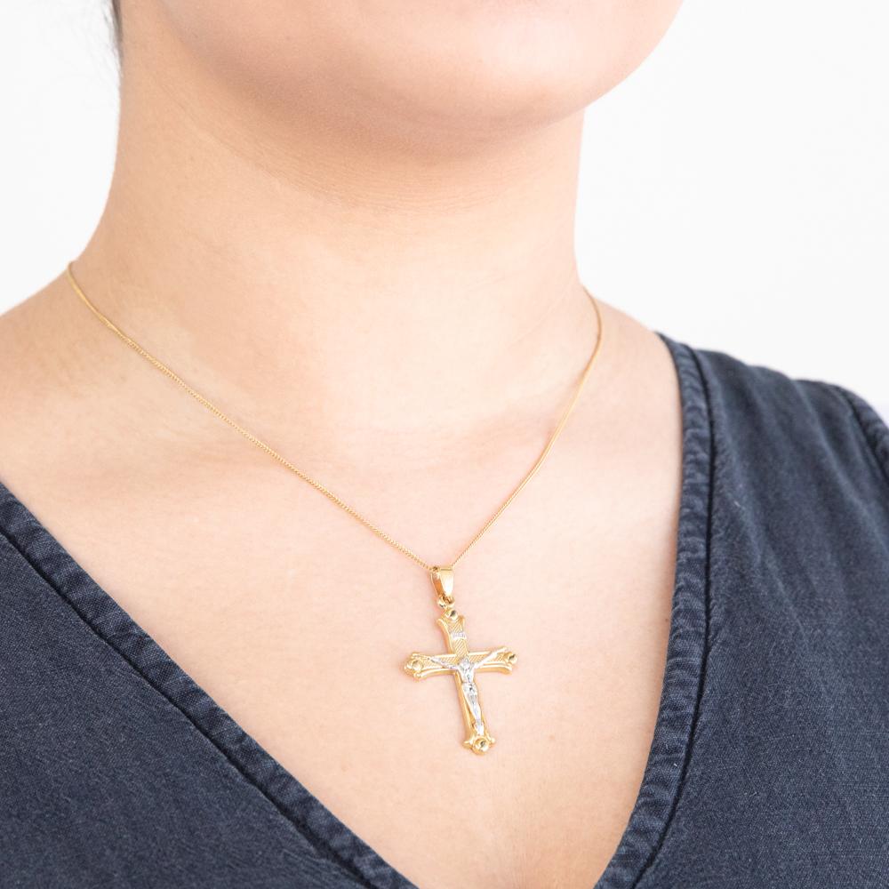 18ct Yellow Gold & White Gold Crucifix Pendant