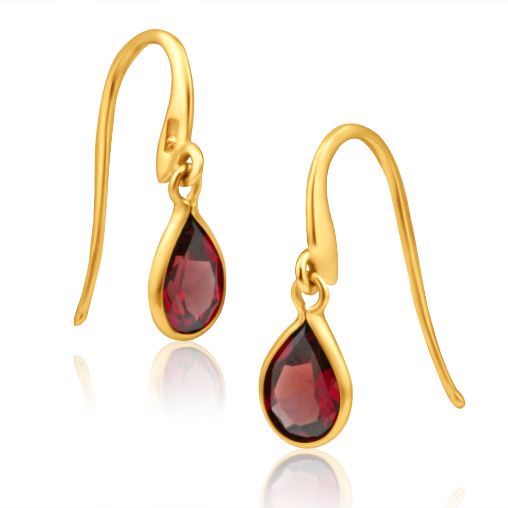 9ct Yellow Gold Garnet Pear Drop Earrings