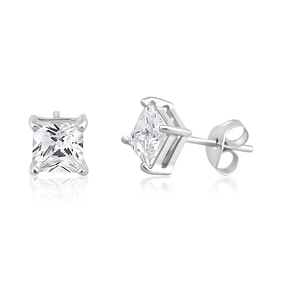 9ct White Gold Princess Cut Cubic Zirconia 5mm Stud Earrings