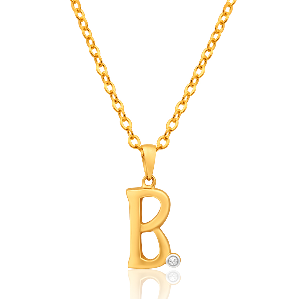 9ct Yellow Gold Pendant Initial B set with diamond