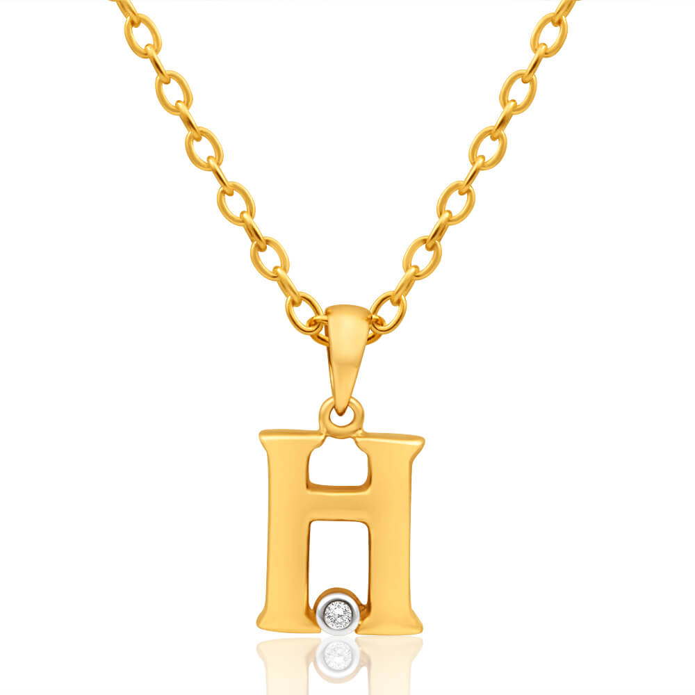 9ct Yellow Gold Pendant Initial H set with diamond