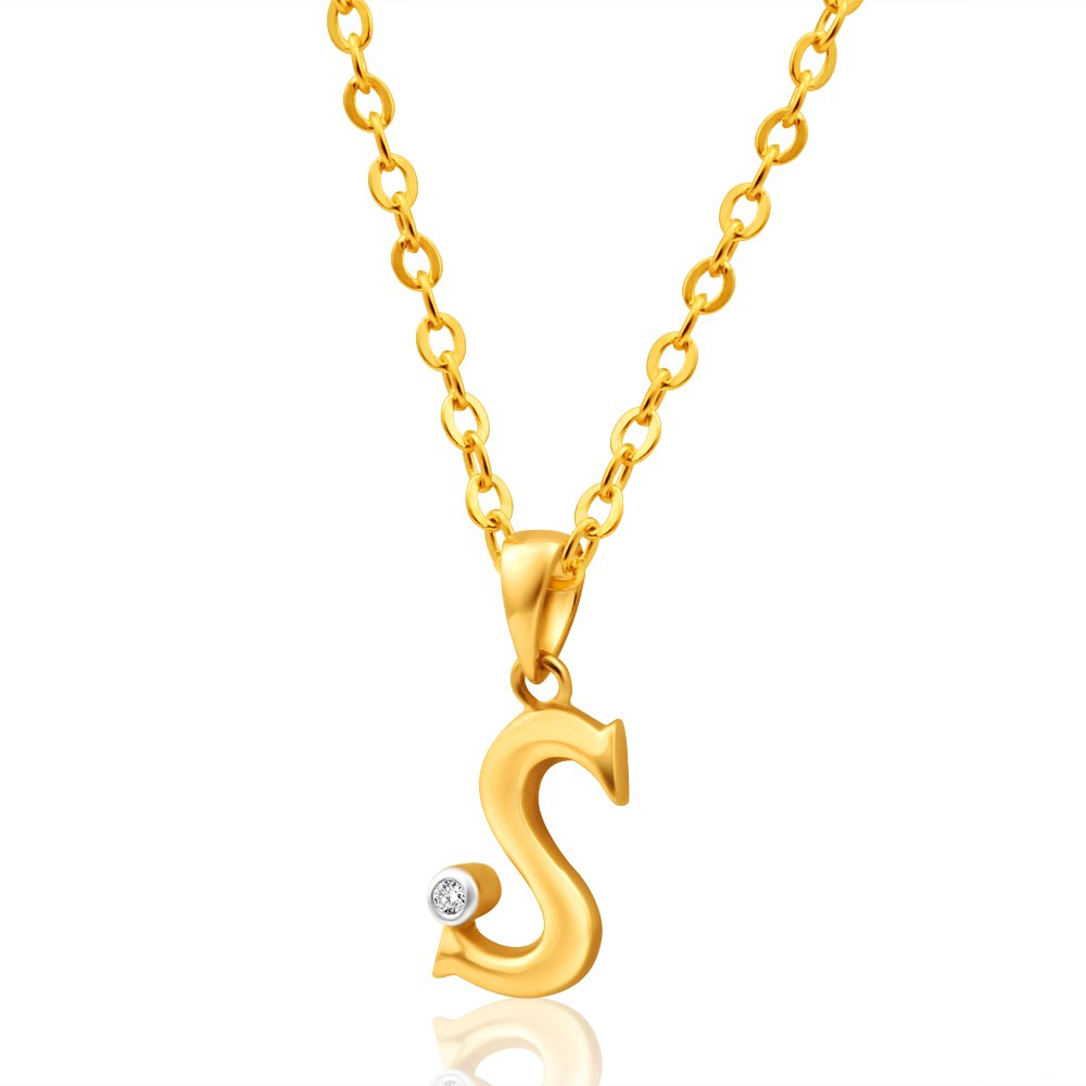 9ct Yellow Gold Pendant Initial S set with diamond