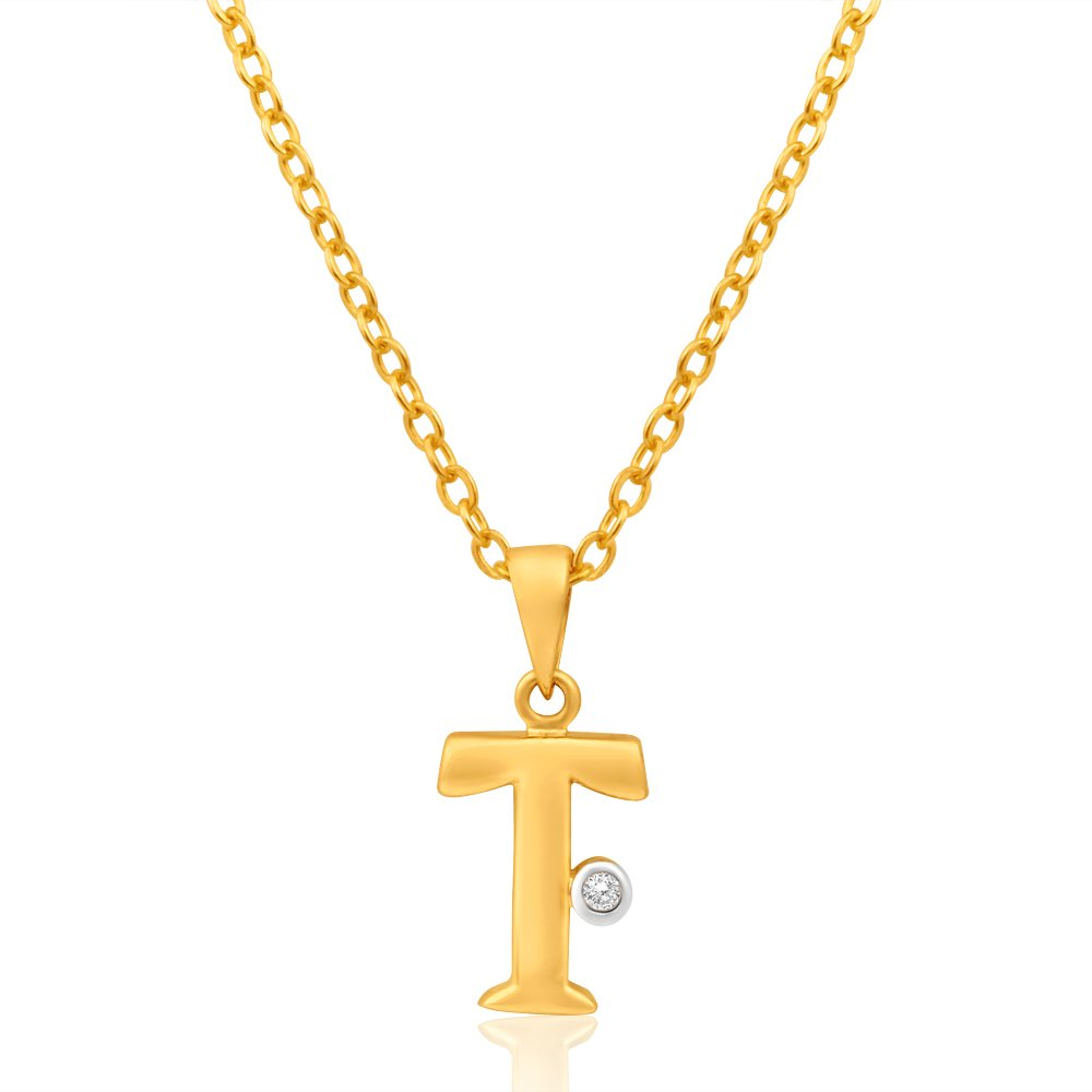 9ct Yellow Gold Pendant Initial T set with diamond