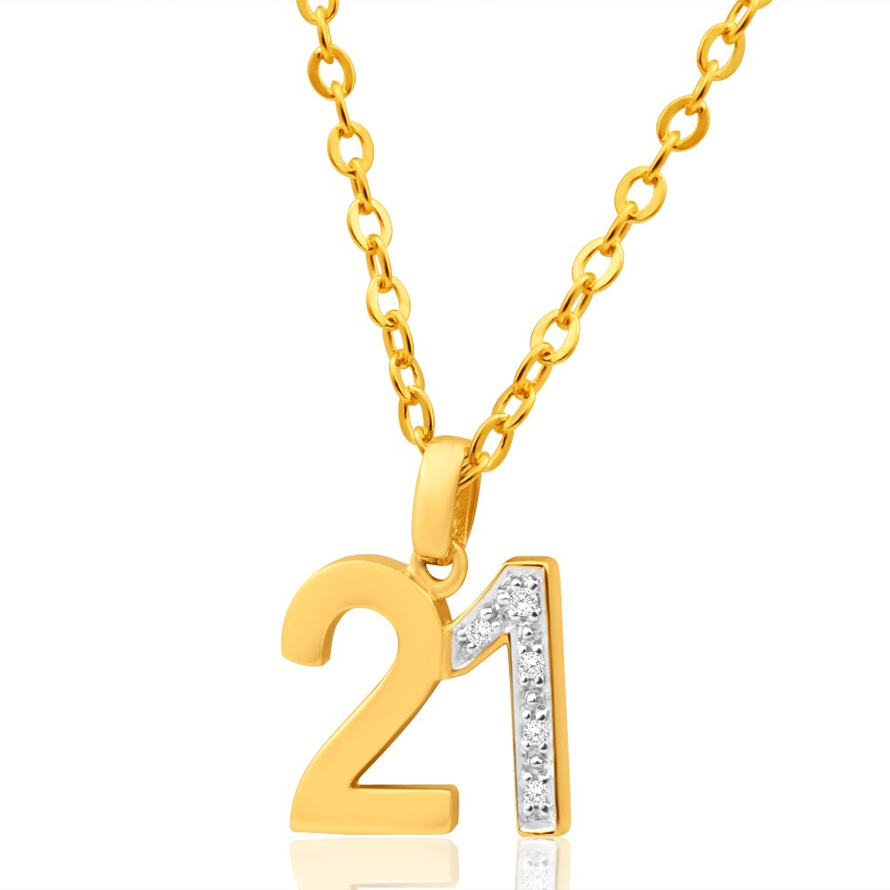 9ct Yellow Gold 21 Diamond Pendant