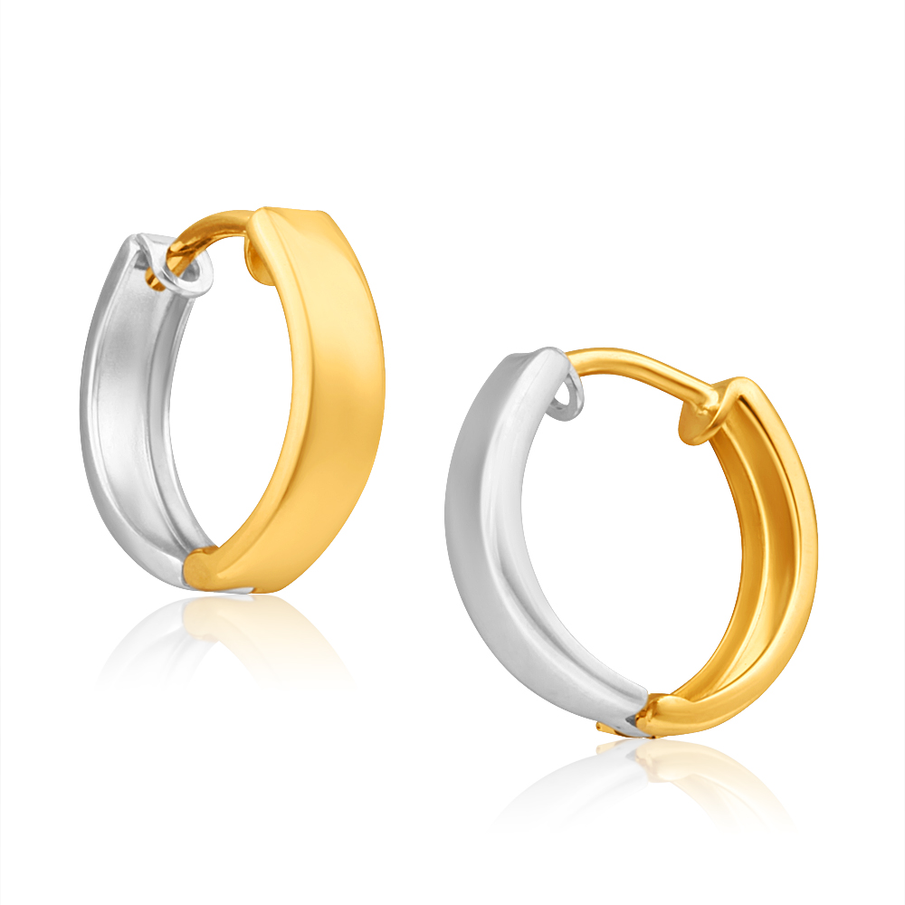 9ct Yellow Gold & White Gold Huggie Hoop Earrings
