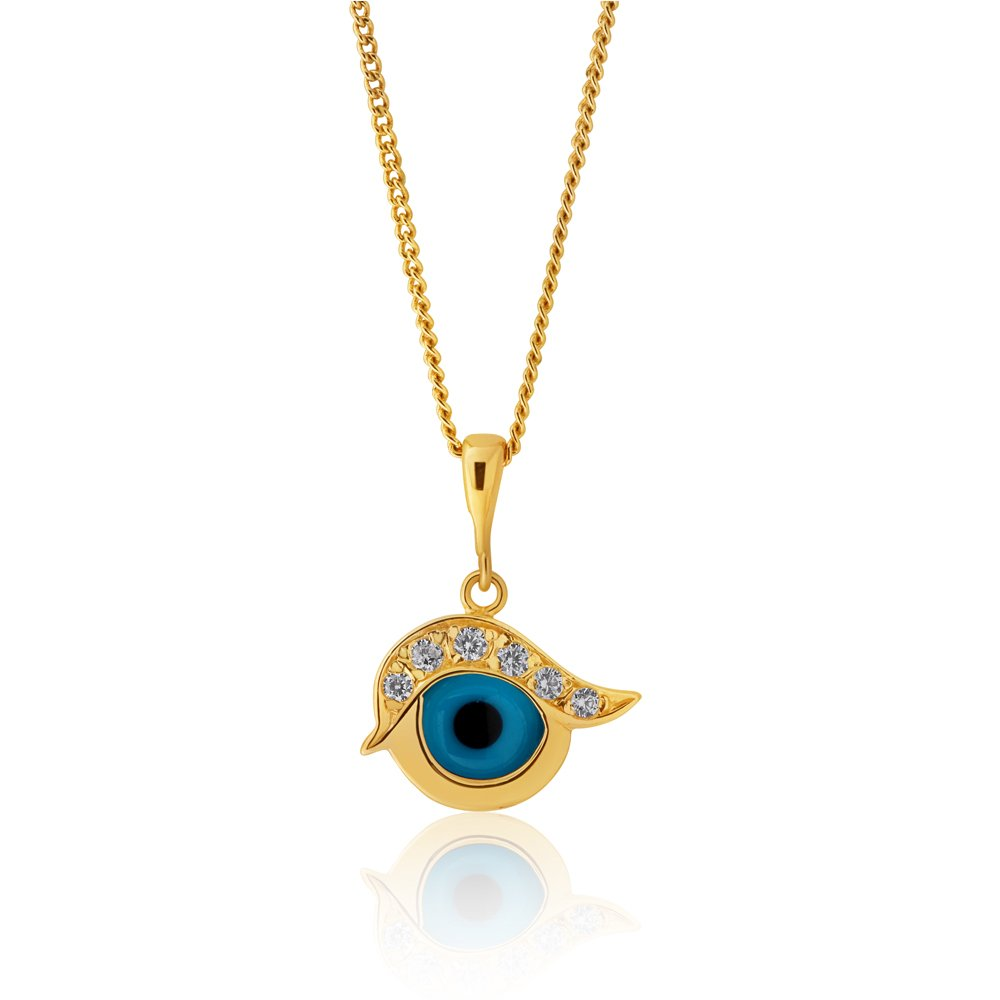 9ct Yellow Gold Evil Eye Cubic Zirconia and Blue Enamel Pendant