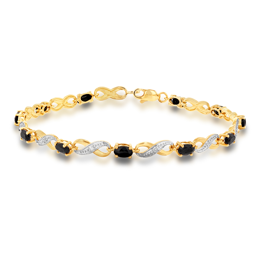 9ct Yellow Gold Natural Black Sapphire Illusion set Infinity Bracelet 18cm