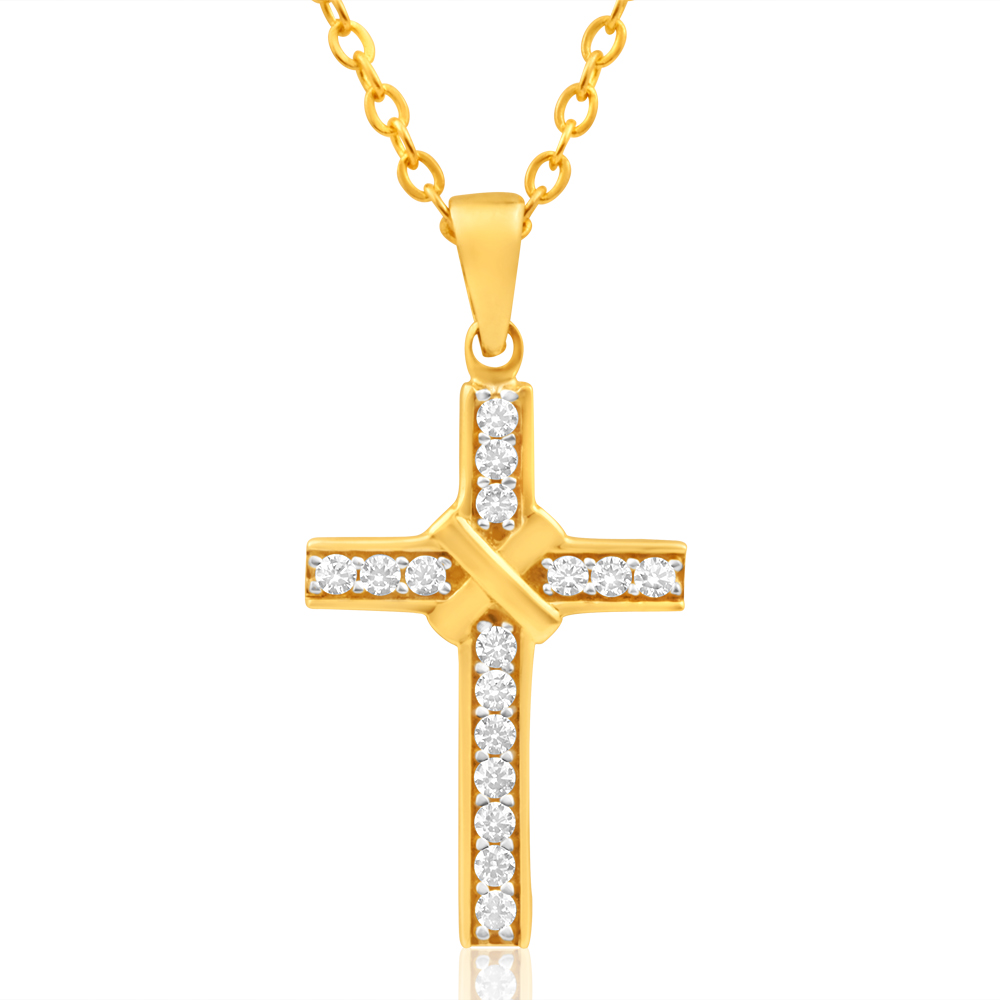 9ct Yellow Gold Cubic Zirconia Cross Pendant 21mm