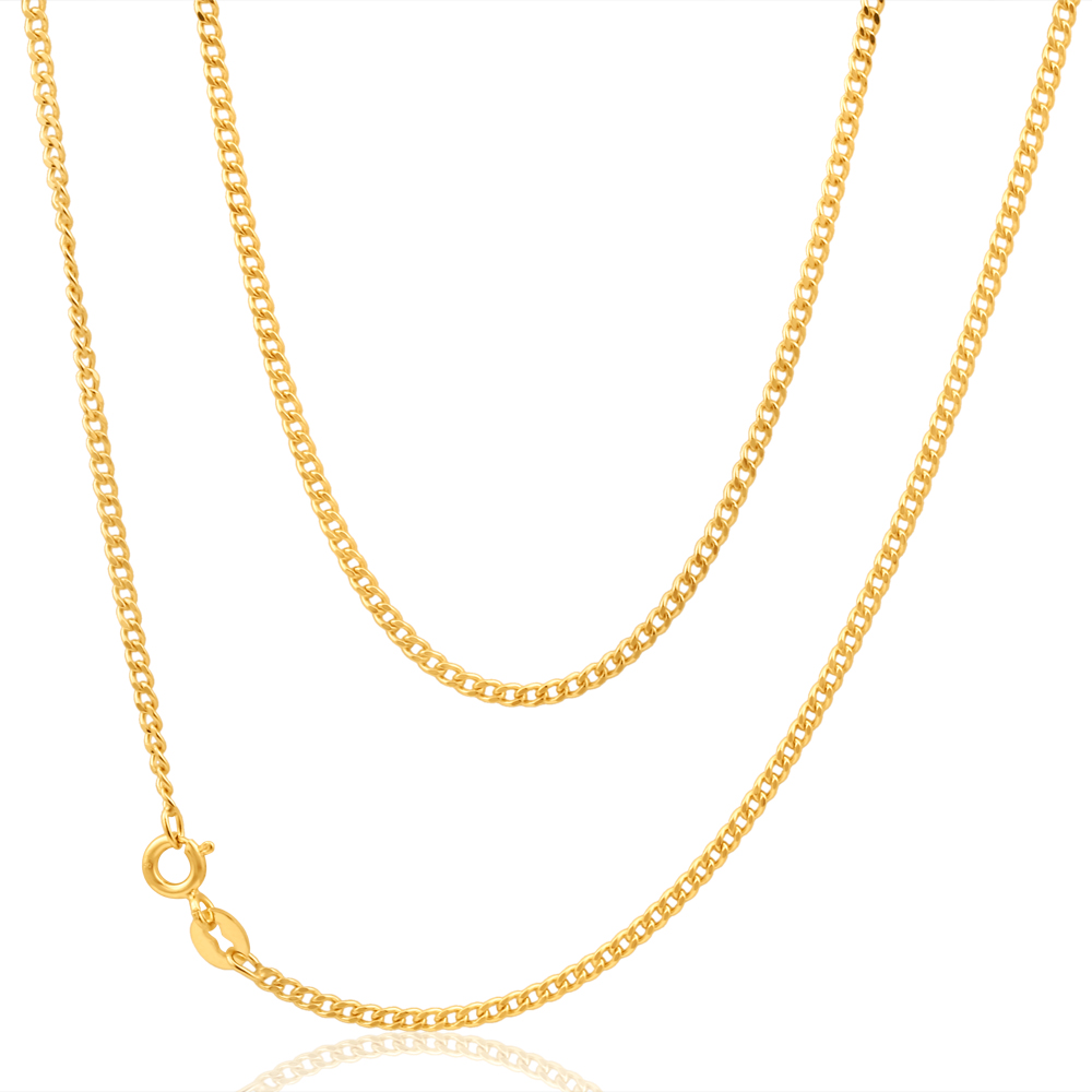 9ct Yellow Gold 50 Gauge Curb 40cm Chain