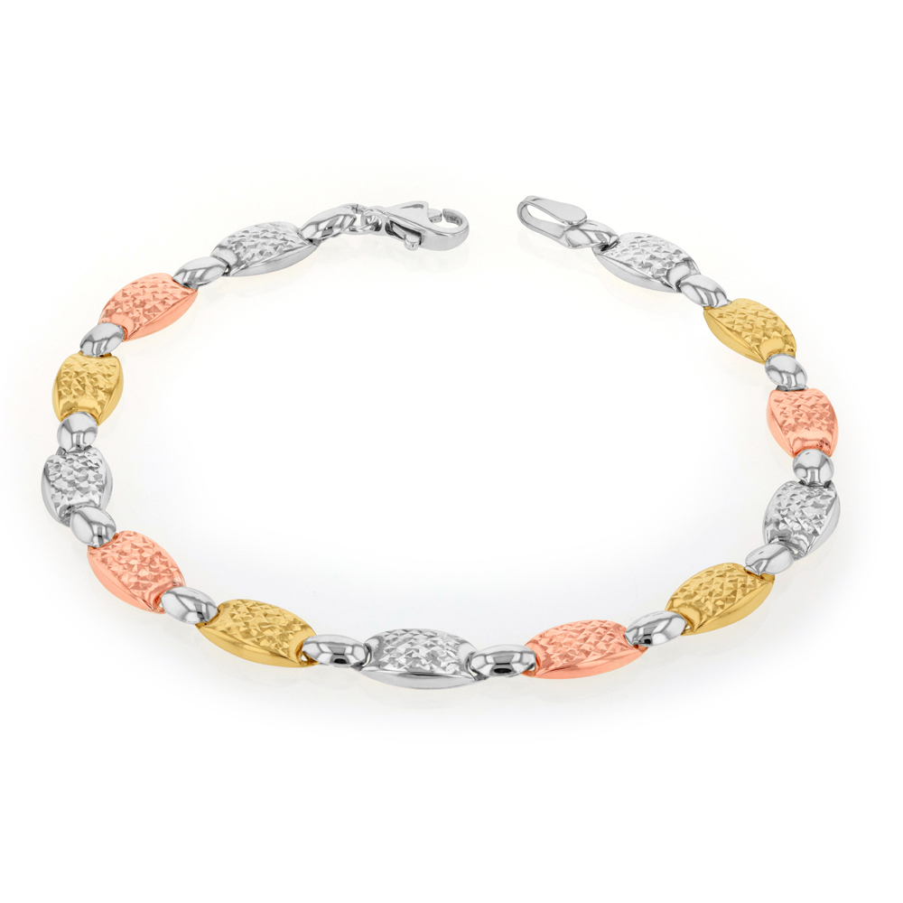 9ct Yellow Gold, White Gold & Rose Gold Fancy Bracelet
