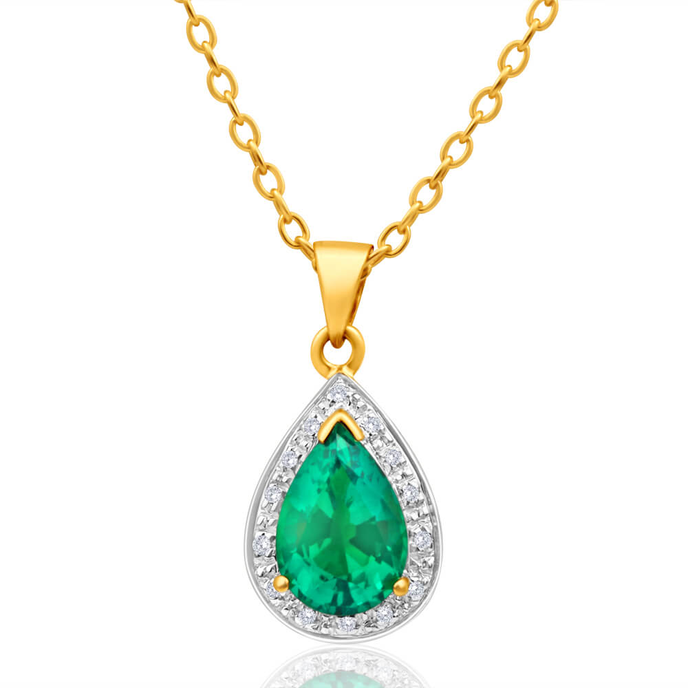 9ct Yellow Gold Created Emerald + Diamond Teardrop Pendant