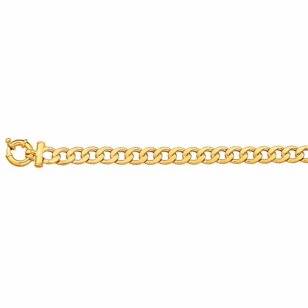 9ct Yellow Gold Copper Filled 19cm Curb Boltring Bracelet 21Gauge
