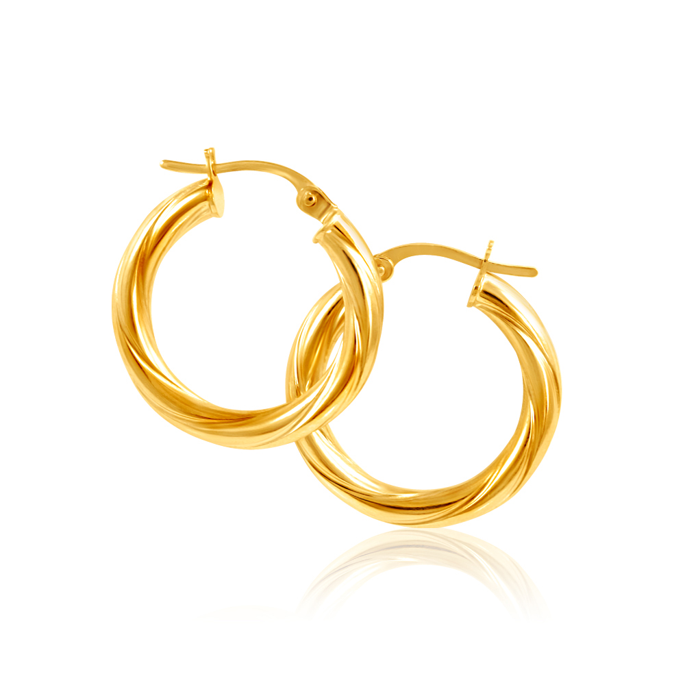 9ct Yellow Gold Hoop Earrings in 15mm with twist