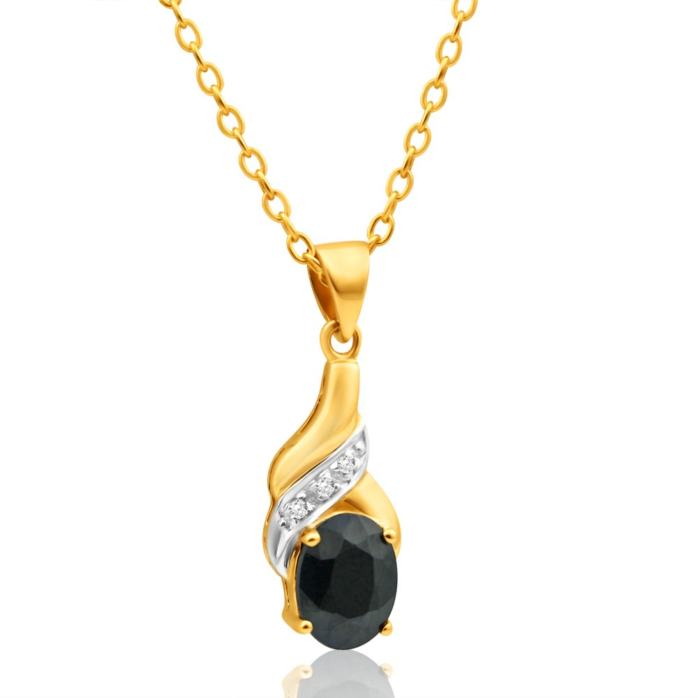 9ct Charming Yellow Gold Natural Black Sapphire 8x6mm and Diamond Pendant