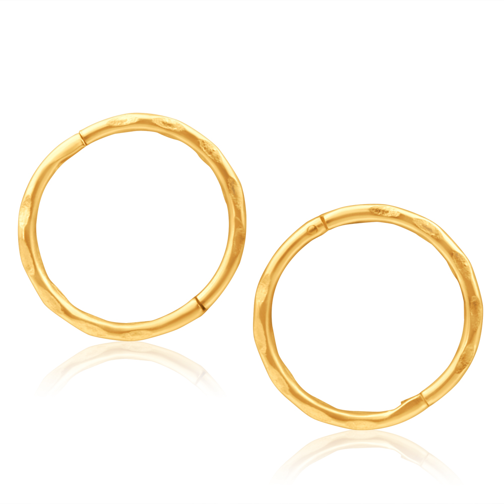 9ct Yellow Gold 10mm Faceted Sleepers Earrings