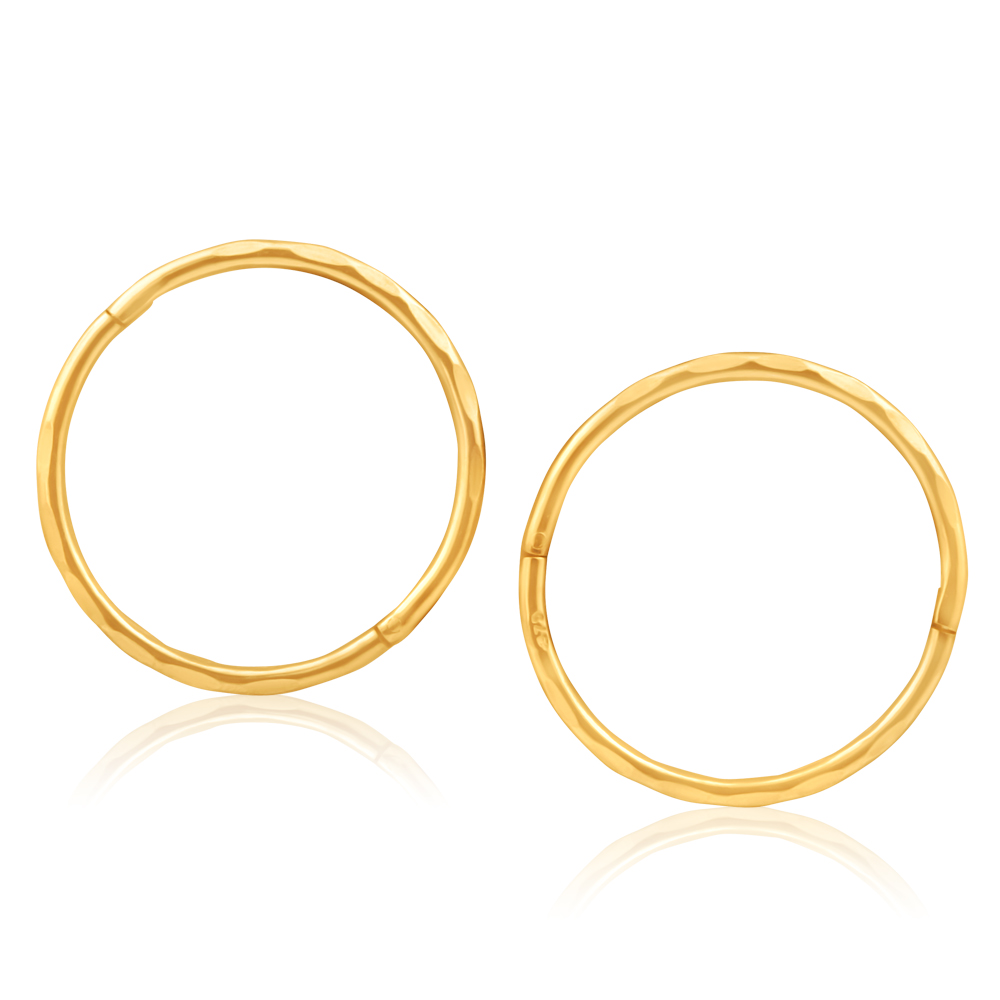 9ct Yellow Gold 16mm Faceted Sleepers Earrings